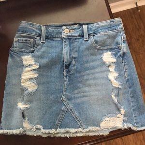 Women's junior distressed denim miniskirt